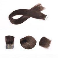 최고 품질 20pcs 세트 24inch 스트레이트 접착제 피부 Weft PU 테이프 인간의 머리카락 확장에서 브라질 레미 무료 배송