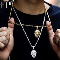 Hip Hop Bling fuori ghiacciato Leone strass Collana completa corda color oro catena d collane dei pendenti per gli uomini Jewelry 200928