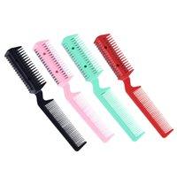 1 pc / lot 4 farbe razor kamm haarschneider dünner shaper kamm 2 razor blades trimmer farber remove tool