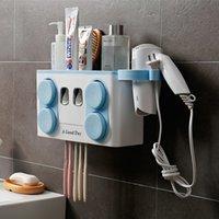 Porte-brosse à dents familiales Installation facile Installez la salle de bain en plastique de la brosse à dents rack rack distributeur de dentifrice avec 4 tasse Y200407