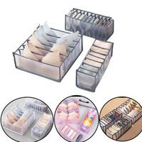 Cajas de almacenamiento de ropa interior separadas para el hogar 7 Grids BRA Organizer Dormitorio Closet Organizadores para calcetines Lazos Organización de cajones plegables