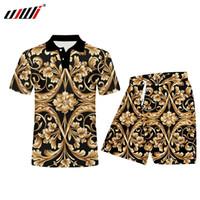 UJWI Nouveau Tendance Hommes / Femmes Tracksuit Ensemble Golden Fleur 3D Imprimer manteau Tops Pantalons Street Street Style Polo Motif Personnalisé X0124
