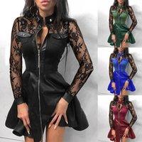 Женщины осень зимние платья сетки кружева лоскутное застежка на молнии дизайн кожаные дамы свободное платье элегантные Vestidos Ropa de mujer d4 q1229