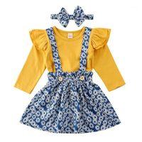 Original Zebra Lembre-se de meninas roupas conjuntos de manga voadora dourada tops + saia floral suspender saia de duas peças Set meninas outfits1