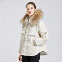 FitAylor inverno grande real guaxinim com capuz jaqueta curto com capuz mulheres 90% branco pato para baixo casaco parkers irregular mornar neve outwear1