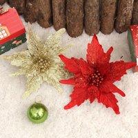 Weihnachtsdekorationen 5 stücke Elegante Stecklinge Künstliche Pteris Blumen Glitter Poinsettia Home Ornamente Festivals Baum Dekor Party Supplies1