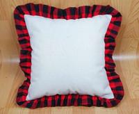 18 polegadas de sublimação em branco travesseiro caixa de linho térmico diy lance almofada cobre tartan xadrez fronhas de renda decoração home w59