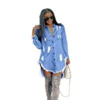 Femmes HiPhop Denim Bleu Jean chemise robe printemps automne déchiré jeans tassel designer robes 34243