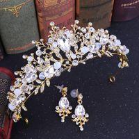 Forseven 1 Set Handgemachte Blume Blätter Kristallperlen Tiaras Kronen DIADEM Ohrringe Braut Noiva Hochzeitsfeier Haarschmuck1