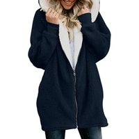 NORMOV Women Woolen Sweatshirts Warm Longsleeve Thick Zipper Hooded Swetshirts Solid Winter Sweatshirts Casual Hoodies Plus Size T200904