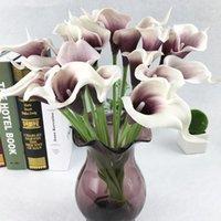 1pcs 다채로운 진짜 터치 PU 인공 꽃 칼라 릴리 무리 신부 가짜 꽃 꽃다발 DIY 결혼식 테이블 및 방 장식 FZ231