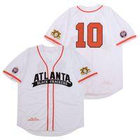 Negro League Black Atlanta Galletas Jersey de béisbol 10 Hombres Equipo de color Blanco Papas Fresca Bordado Fresco Bordado y Costura Top Calidad