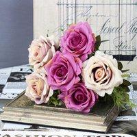6 رؤساء 7 سنتيمتر الساحرة الزهور الاصطناعية الحرير روز الزهور العروس باقة المنزل ديكور المنزل سكرابوكينغ لوازم ديي 1