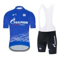 최신 2020 가즈프롬 팀 사이클링 의류 여름 사이클링 저지 남성 턱받이 젤 반바지 정장 프로 자전거 저지 스포츠 로파 Ciclismo