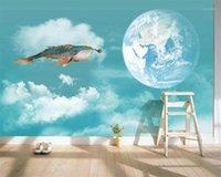 Diantu Personalizado Wallpaper Dream Baleia Voando Terra Decoração TV Fundo de Parede Sala de estar Quarto Sala de Crianças 3D papel de parede1