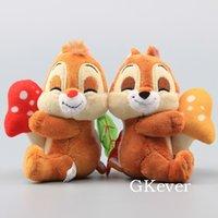 Mantarlar ile Sevimli Sincaplar Mini Dolması Hayvanlar Sevimli Peluş Oyuncak Bebekler 11 cm LJ201126