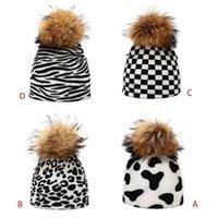 Leopard Zebra vache mignon unisexe Imprimer Bonnet avec détachables Pom Pom Thicken double couche chaude Harajuku Knit Calotte