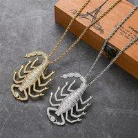 Personalidade legal homens mulheres colar banhado a ouro cz grande escorpião pingente colar com cadeia de corda de 24 polegadas para homens mulheres hiphop jóias presente