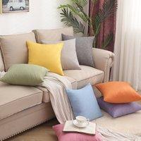 Taie d'oreiller carré de lin tricoté Multi couleurs Bonne ventilation Coussin Coussin Coussins Canapé Variturier Accorture de la maison Nouveau 3 5jx L2