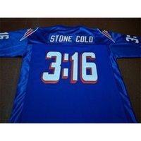 121 Stone Soğuk Steve Austin # 3:16 Takım Mavi Beyaz Kolej Forması Boyutu S-4XL veya Özel Herhangi bir İsim veya Sayı Forması