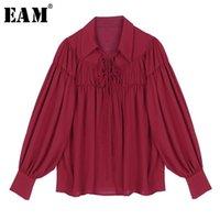 [EAM] Женщины белые повязки плиссированные темперамент блузка новый отворот с длинным рукавом свободная подходит рубашка мода прилив весна осень 2020 1R5451