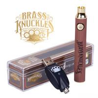Messing-Knöchel Batterie Zerstäuber 900mAh Gold Holz Slivery Vorheiz einstellbare Spannung Vape Pen Batterien 510 Gewindekassette