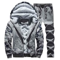 Men' s Tracksuit Winter Mens Warm Set Fleece Track Suits...