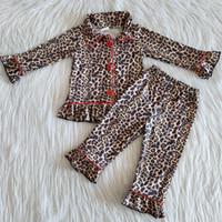 Nouveau Design Filles Pyjama Kids Set de Noël Pyjama vêtements de nuit Ruffle gros bébé léopard filles Pyjama enfant en bas âge fille Nightwaer Set