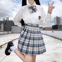 JK femmes costume de style collégial véritable robe uniforme chemise à manches longues haute junior robe de classe de fin d'études d'uniforme scolaire des élèves de l'école plissés