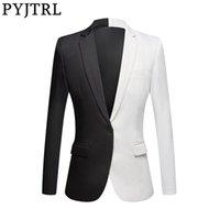 PYJTRL New Mode Blanc Noir Rouge Manteau Casual hommes Blazers Singers Costume de scène Blazer Slim Fit Prom Party Veste de costume 201113