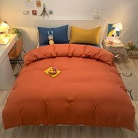 Solid Bedding Sets Orange Quilt Cover Pillowcase Bed Flat Sh...