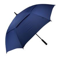 Гольф Зонтик для мужчин Автоматического Открытого ветрозащитного Зонтики Extra Large Double Негабаритные Навес вентилируемого Водонепроницаемый Стик 62-дюймовый голубого