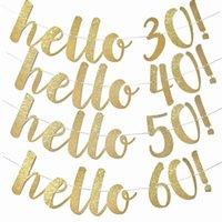 Parti Dekorasyon 1 Takım Altın Hello 30 40 50 60 Kağıt Afiş Yıldönümü Doğum Günü Süslemeleri Yetişkin Düğün Garland Malzemeleri