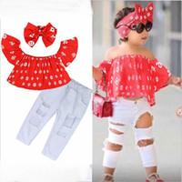 Meninas de bebê conjunto de roupas crianças moda top calça dois peça crianças terno verão roupas boutique roupas