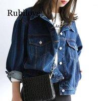 RUBilove Autunno Signore Denim Blue Jean Capispalla Vintage Manica lunga Streetwear Donne Fashion Retro Jean Giacca 1