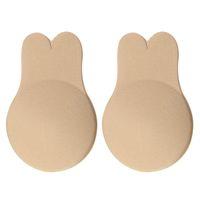 Ears de coelho peito de peito anti fuga fugas sutiã push up elevador mamilo cobre adesivo strapless invisível sutiã sutiãs molho reutilizável para as mulheres