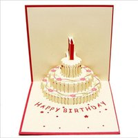 New 3d cake happy birthday up cards Wedding Gift greeting card set Paper postcard Office stataonery & School Supplies