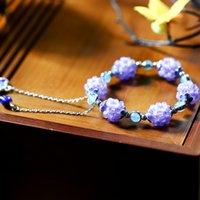 Small Town azul e caixa de presente branca bonita Pulseira Jade tecido uva Bola Efeito Jogo e Handbag vivo Fornecimento