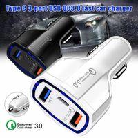 QC 3.0 USB C Caricabatteria da auto 3 Porte Carica rapida Caricatore veloce per il telefono Adattatore di ricarica universale per iPhone Samsung