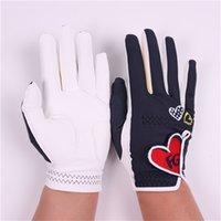 Новая любовь вышивки Гольф перчатки Спорт на открытом воздухе Lady Double Handed Golf Practice перчатки для женщин 201020