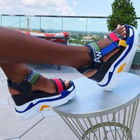2020 Nova Plataforma de Moda Sandálias Mulheres Sapatos Verão Super Alto Saltos Senhoras Sapatos Casuais Wedge Chunky Gladiador Sandálias # YO3O