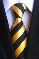 남성 넥타이 블랙 A031에 대한 SCST 브랜드 Corbatas 2020 새로운 Gravata 8cm 슬림 남성 결혼식 넥타이 골드 노란색 줄무늬 인쇄 실크 넥타이