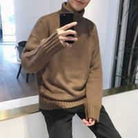 2020 новая новая осень и зимний мужской свитер с длинным рукавом молодежь сплошной цвет пуловер для мужчин с высоким вырезом повседневный свитер кг-99