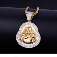 New Men' s Hip Hop Jewelry Pendant Necklace Iced Out Smi...