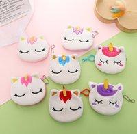 Hotsale peluche Unicorn chat bourse super doux porte-monnaie sac d'argent joli portefeuille de filles mini-femmes sac clé sacs de câble usb portable