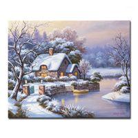 Dipinti Pittura a olio fai da te da numeri kit Coloring Hand Spainted Night Night Small House Lakes Tela Immagini Home Decor Art Art Framed1