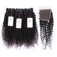 8A bon marché du Brésil Homme Tissages Cheveux raides 3 Bundles avec Frontal vague de corps humain Virgin Bundles cheveux avec Closures Remy Hair Extensions