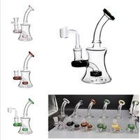 New Design 6 Inch Bent Glass Water Bongs Dab Rig Hookahs with 14mm Female Downstem Male Glass Bowl Recycler Beaker Bong for Smoking