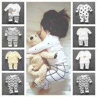 Дети Autum Simple Pajamas Sets Ins Insits Moke Boy Girls Homewear Homewear с длинным рукавом Двухструктурная одежда Хлопок Футболка Брюки наряды G12802