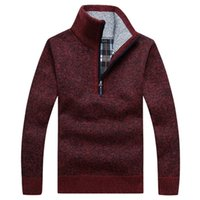 Осенние мужские густые теплые вязаные пуловер твердого с длинным рукавом водолазки свитера пол Zip теплый флис зимнее пальто удобная одежда 201221